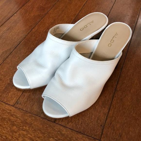 Aldo Dorthy block heel white leather mule